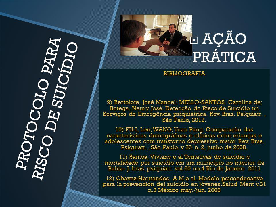 PROTOCOLO PARA RISCO DE SUICÍDIO  AÇÃO PRÁTICA BIBLIOGRAFIA 9) Bertolote, José Manoel; MELLO-SANTOS, Carolina de; Botega, Neury José. Detecção do Ris