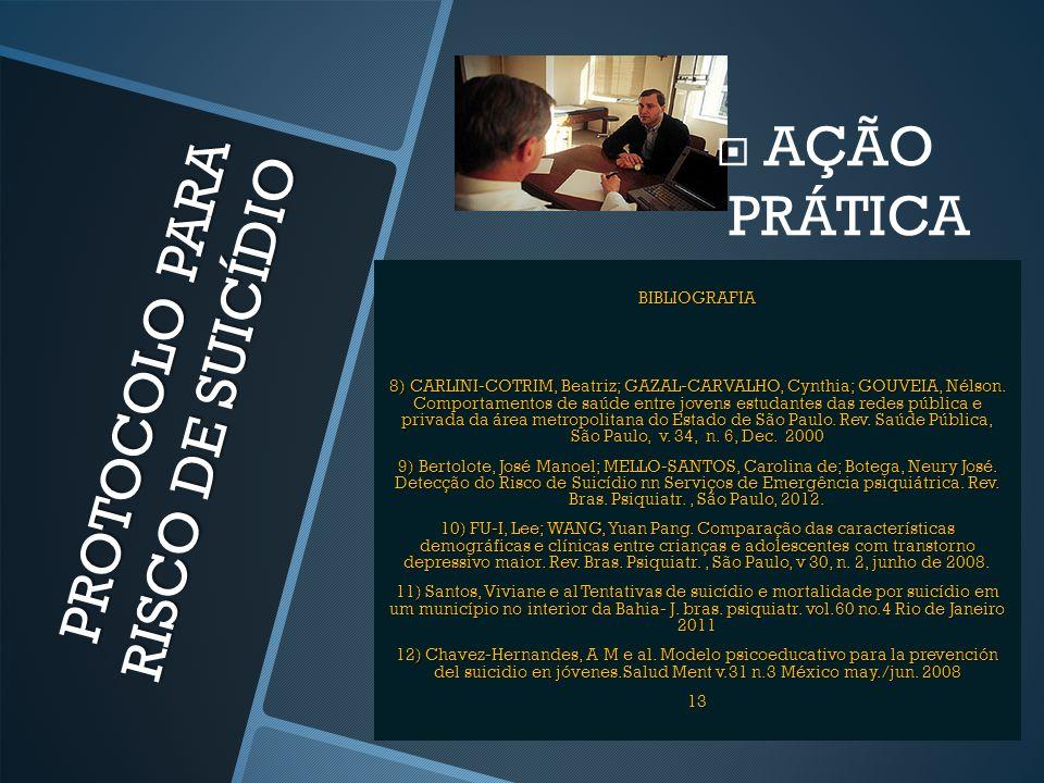 PROTOCOLO PARA RISCO DE SUICÍDIO  AÇÃO PRÁTICA BIBLIOGRAFIA 8) CARLINI-COTRIM, Beatriz; GAZAL-CARVALHO, Cynthia; GOUVEIA, Nélson. Comportamentos de s