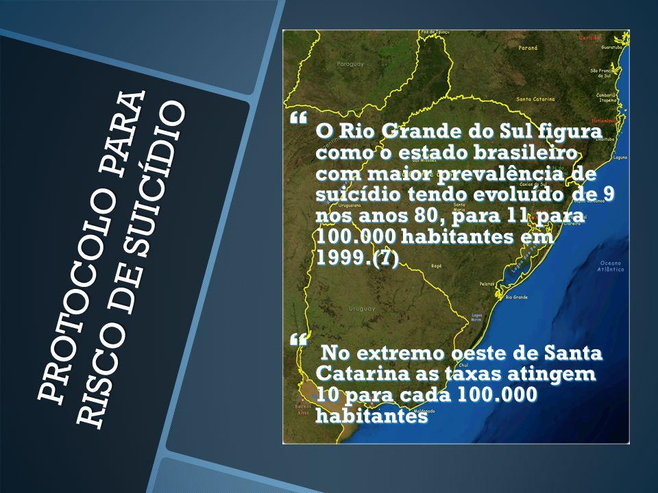 PROTOCOLO PARA RISCO DE SUICÍDIO  O Rio Grande do Sul figura como o estado brasileiro com maior prevalência de suicídio tendo evoluído de 9 nos anos