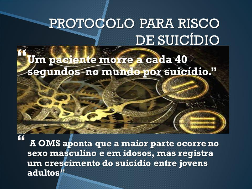 """PROTOCOLO PARA RISCO DE SUICÍDIO  Um paciente morre a cada 40 segundos no mundo por suicídio.""""  A OMS aponta que a maior parte ocorre no sexo mascul"""