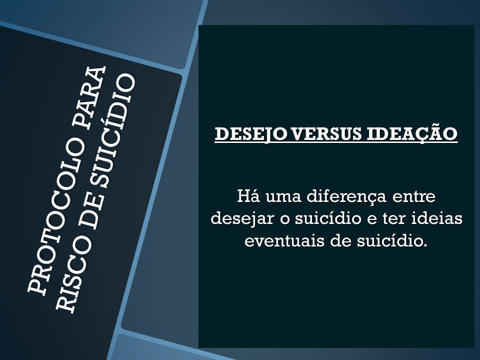 DESEJO VERSUS IDEAÇÃO Há uma diferença entre desejar o suicídio e ter ideias eventuais de suicídio.