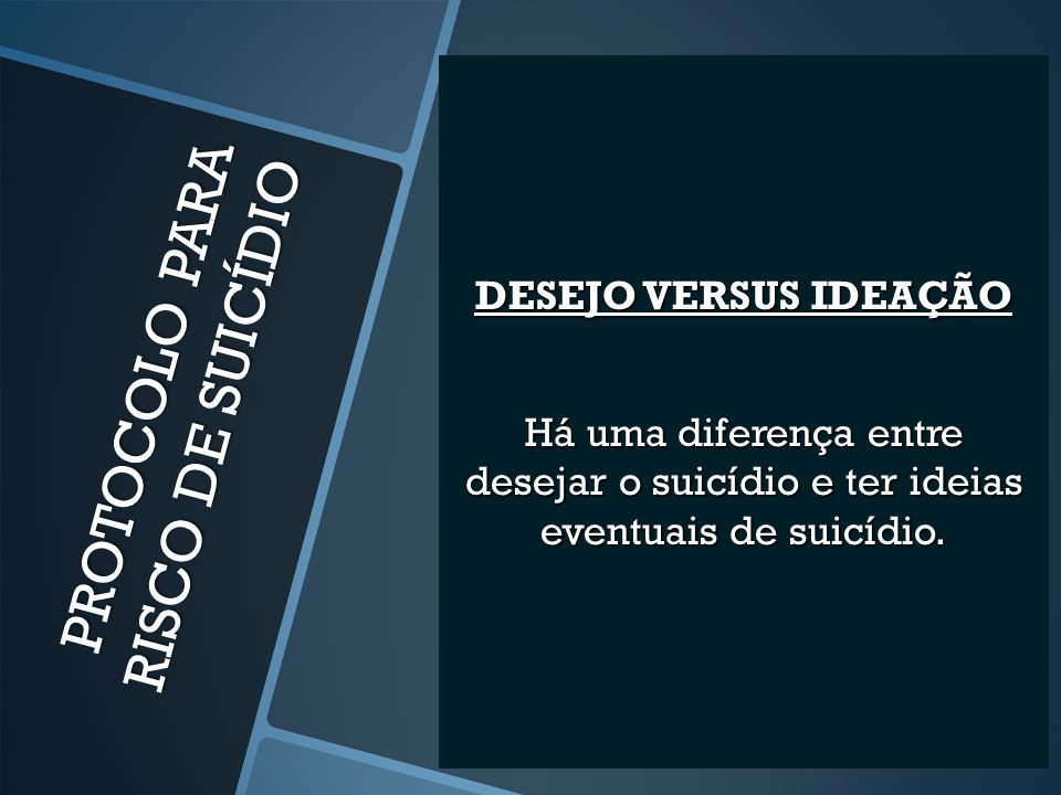 PROTOCOLO PARA RISCO DE SUICÍDIO PERGUNTE SE O PACIENTE REALMENTE QUER SE MATAR.
