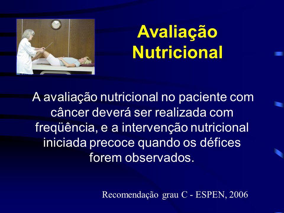 Avaliação Nutricional A avaliação nutricional no paciente com câncer deverá ser realizada com freqüência, e a intervenção nutricional iniciada precoce