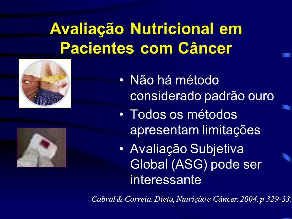 Avaliação Nutricional em Pacientes com Câncer Não há método considerado padrão ouro Todos os métodos apresentam limitações Avaliação Subjetiva Global