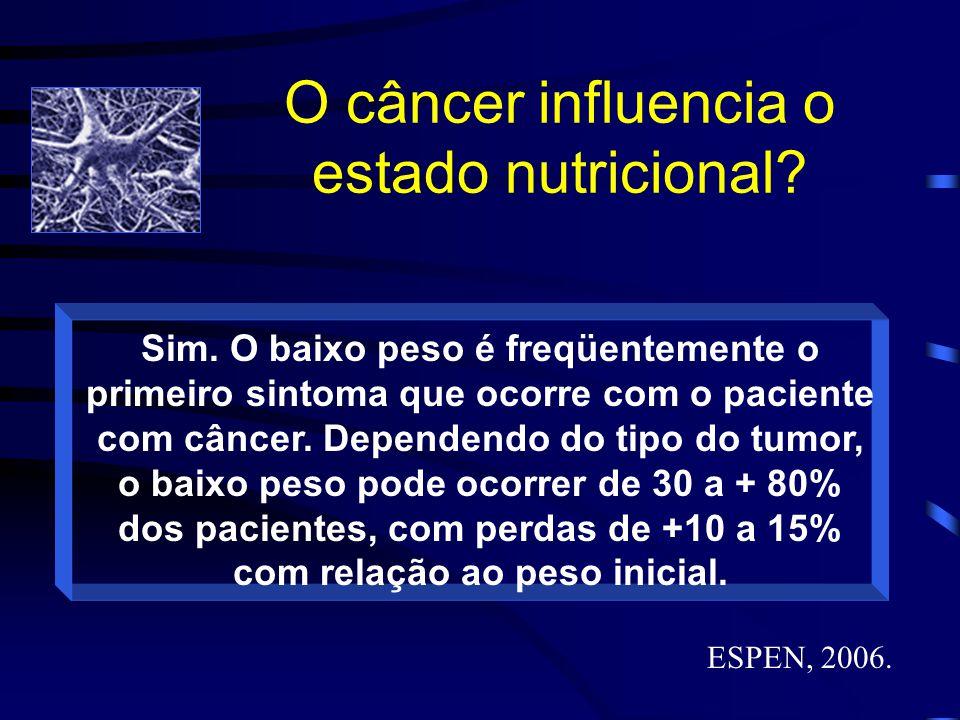 O câncer influencia o estado nutricional? Sim. O baixo peso é freqüentemente o primeiro sintoma que ocorre com o paciente com câncer. Dependendo do ti