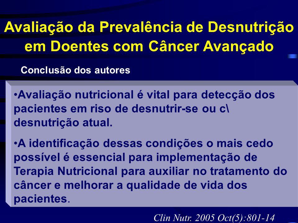 Avaliação da Prevalência de Desnutrição em Doentes com Câncer Avançado Avaliação nutricional é vital para detecção dos pacientes em riso de desnutrir-