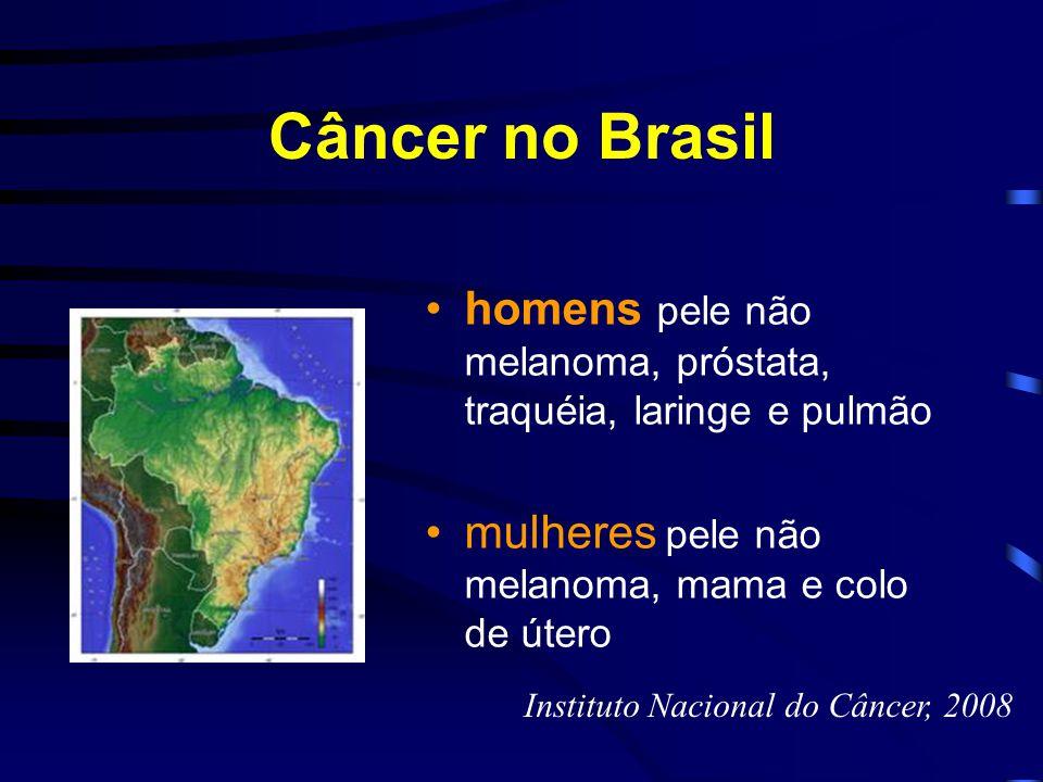 Câncer no Brasil homens pele não melanoma, próstata, traquéia, laringe e pulmão mulheres pele não melanoma, mama e colo de útero Instituto Nacional do