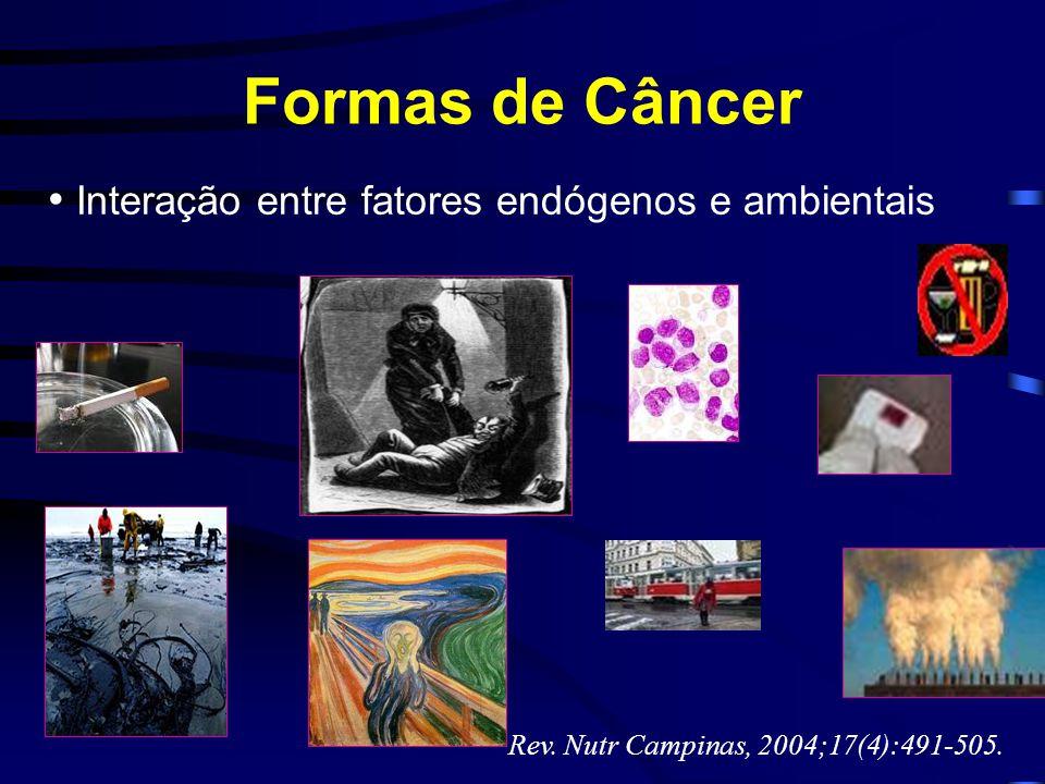 Formas de Câncer Rev. Nutr Campinas, 2004;17(4):491-505. Interação entre fatores endógenos e ambientais