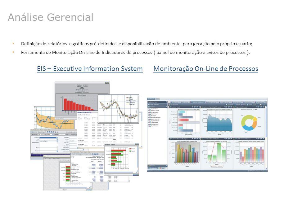Análise Gerencial Definição de relatórios e gráficos pré-definidos e disponibilização de ambiente para geração pelo próprio usuário; Ferramenta de Mon