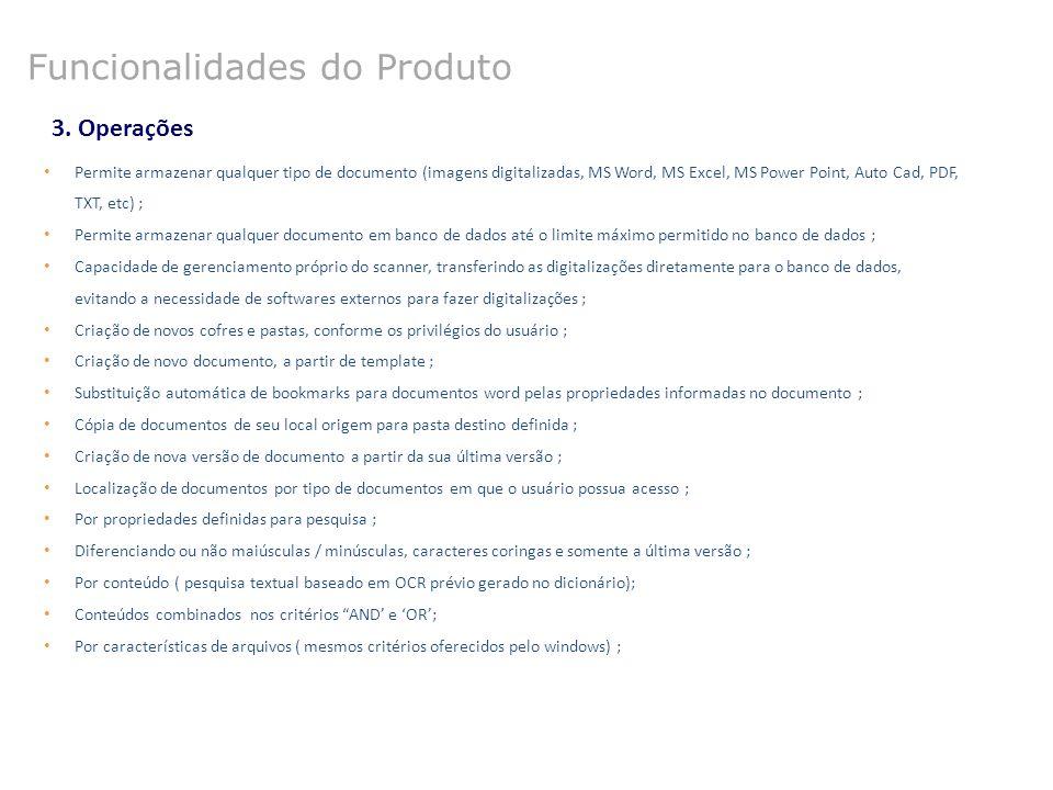 3. Operações Permite armazenar qualquer tipo de documento (imagens digitalizadas, MS Word, MS Excel, MS Power Point, Auto Cad, PDF, TXT, etc) ; Permit