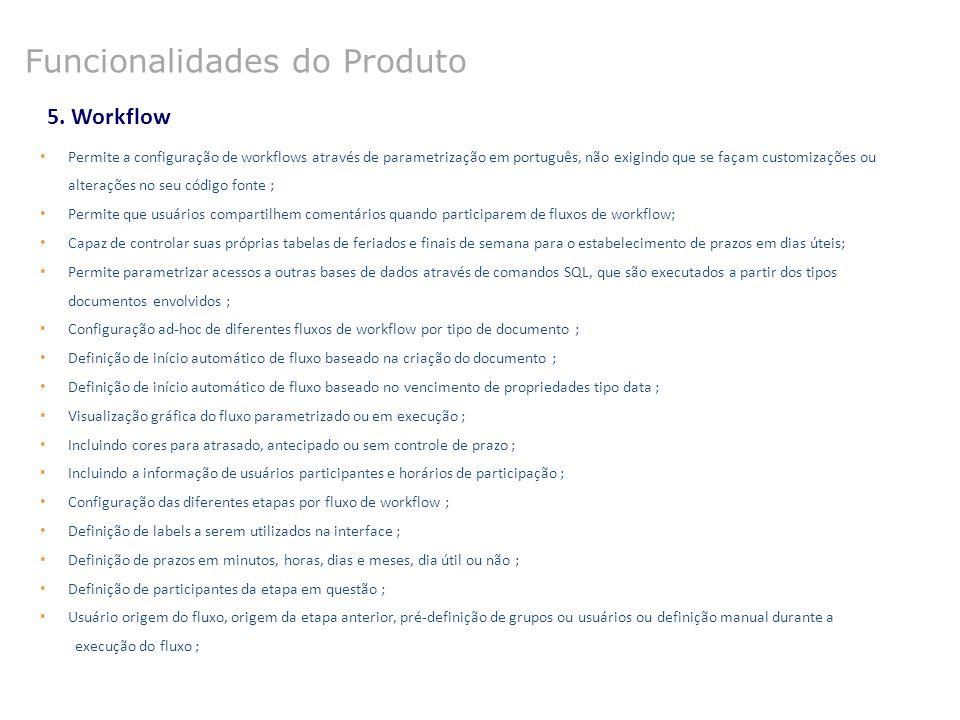 5. Workflow Permite a configuração de workflows através de parametrização em português, não exigindo que se façam customizações ou alterações no seu c