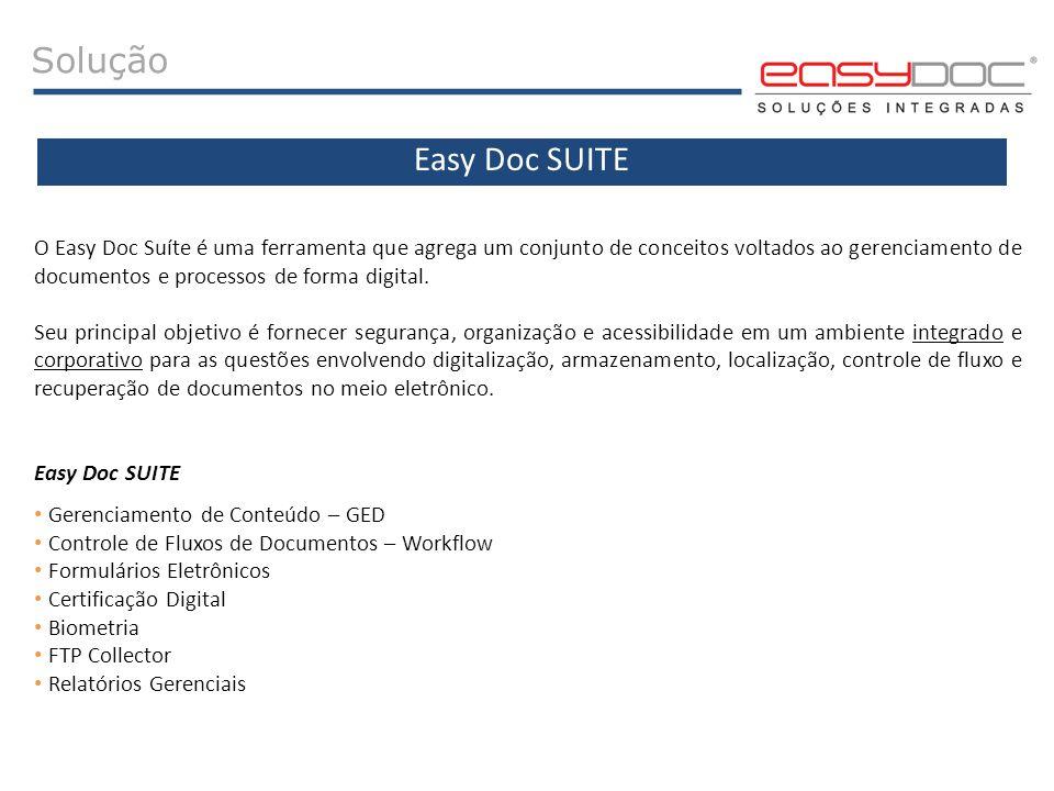 Solução O Easy Doc Suíte é uma ferramenta que agrega um conjunto de conceitos voltados ao gerenciamento de documentos e processos de forma digital. Se