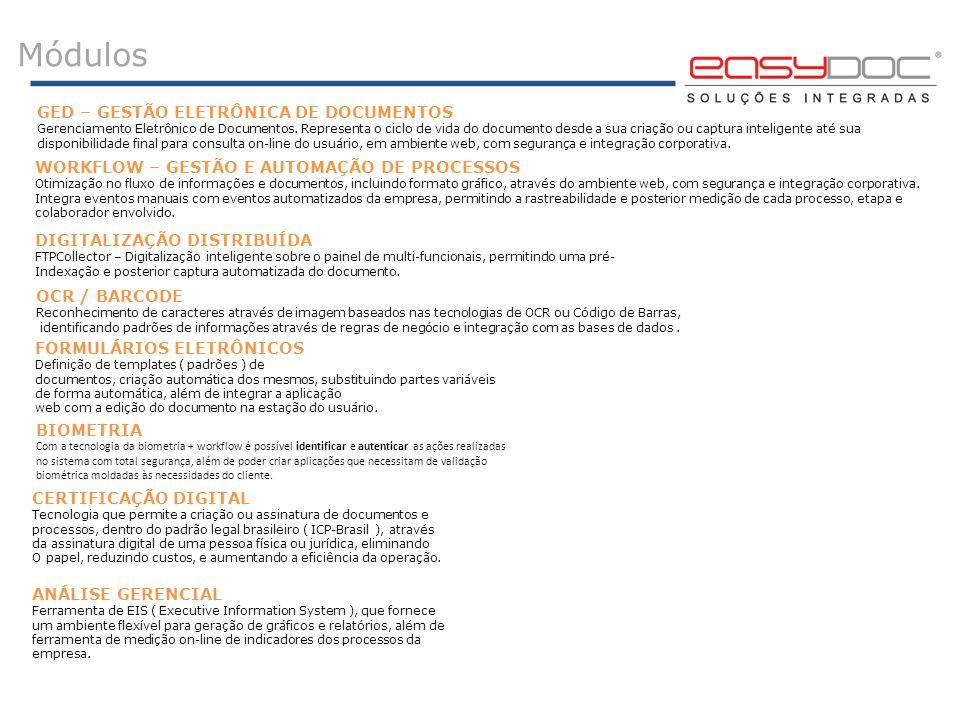 Módulos WORKFLOW – GESTÃO E AUTOMAÇÃO DE PROCESSOS Otimização no fluxo de informações e documentos, incluindo formato gráfico, através do ambiente web
