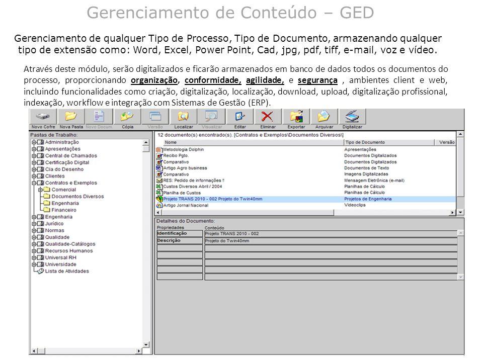 Gerenciamento de Conteúdo – GED Gerenciamento de qualquer Tipo de Processo, Tipo de Documento, armazenando qualquer tipo de extensão como: Word, Excel