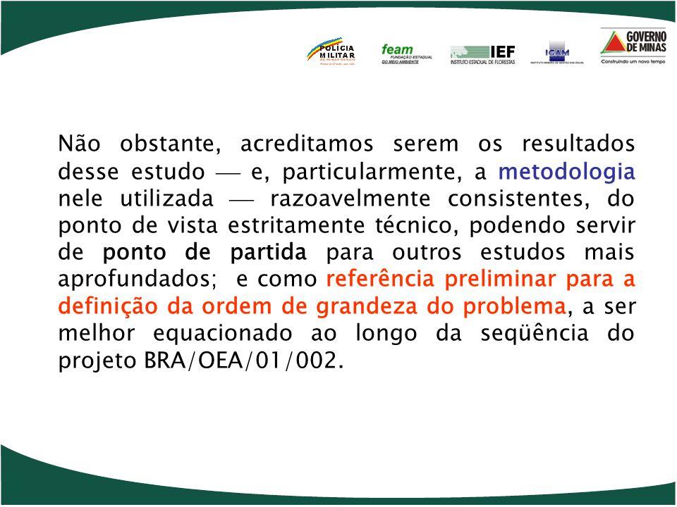 Não obstante, acreditamos serem os resultados desse estudo  e, particularmente, a metodologia nele utilizada  razoavelmente consistentes, do ponto de vista estritamente técnico, podendo servir de ponto de partida para outros estudos mais aprofundados; e como referência preliminar para a definição da ordem de grandeza do problema, a ser melhor equacionado ao longo da seqüência do projeto BRA/OEA/01/002.