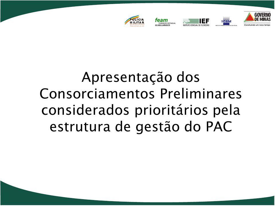 Apresentação dos Consorciamentos Preliminares considerados prioritários pela estrutura de gestão do PAC