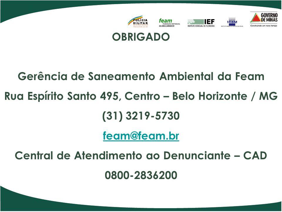 OBRIGADO Gerência de Saneamento Ambiental da Feam Rua Espírito Santo 495, Centro – Belo Horizonte / MG (31) 3219-5730 feam@feam.br Central de Atendimento ao Denunciante – CAD 0800-2836200