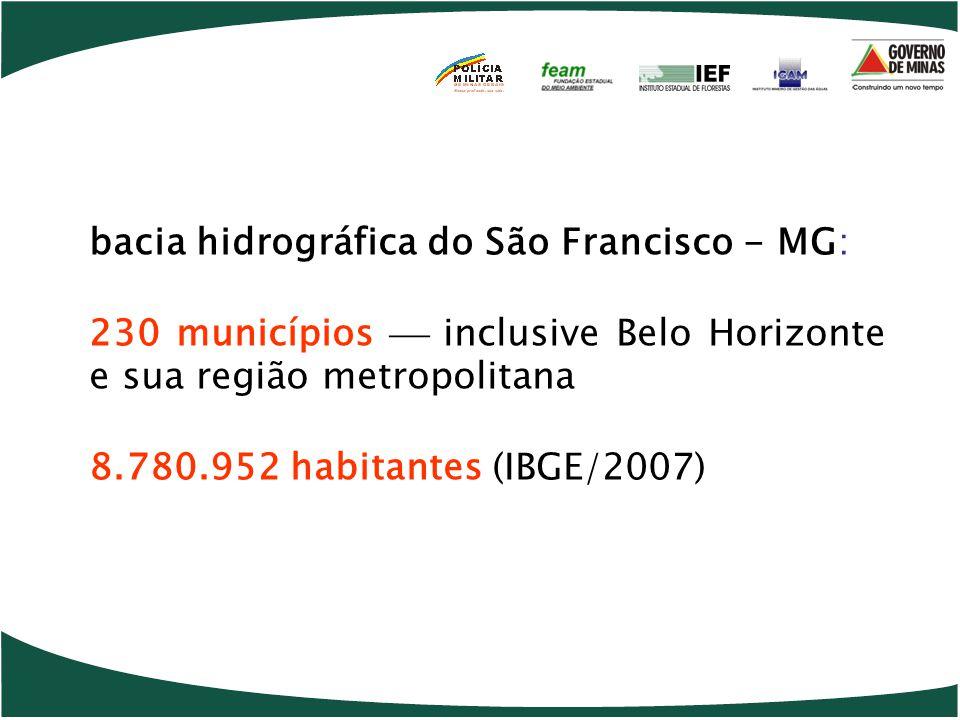 bacia hidrográfica do São Francisco - MG: 230 municípios  inclusive Belo Horizonte e sua região metropolitana 8.780.952 habitantes (IBGE/2007)