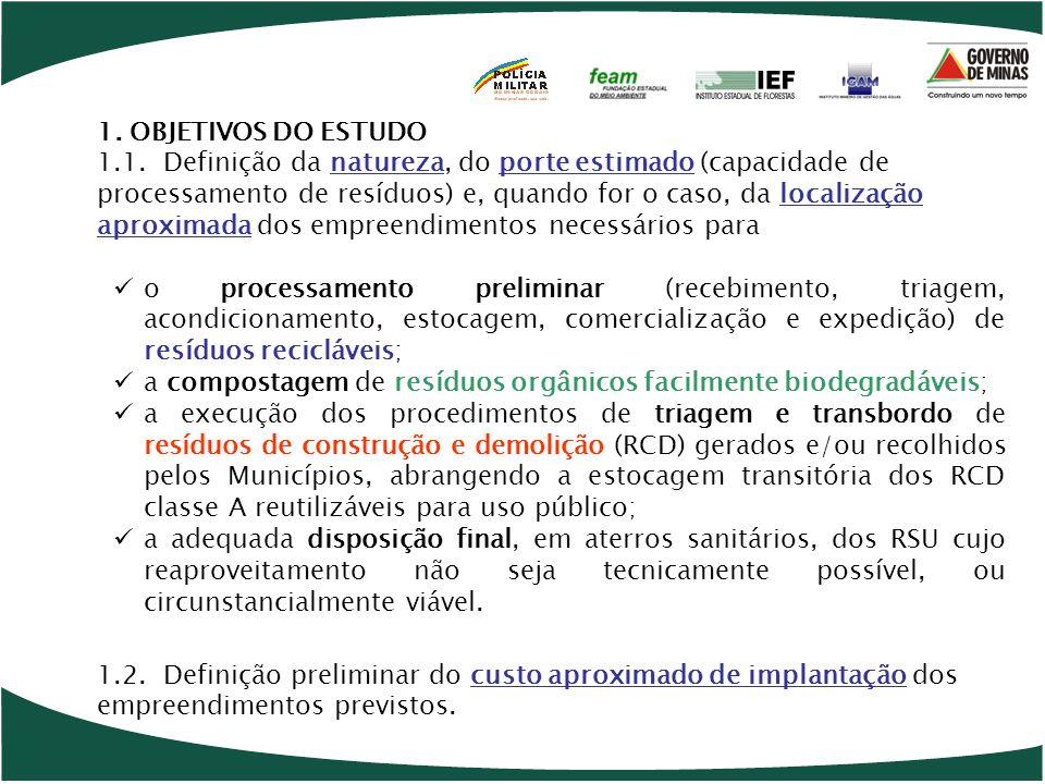 o processamento preliminar (recebimento, triagem, acondicionamento, estocagem, comercialização e expedição) de resíduos recicláveis; a compostagem de resíduos orgânicos facilmente biodegradáveis; a execução dos procedimentos de triagem e transbordo de resíduos de construção e demolição (RCD) gerados e/ou recolhidos pelos Municípios, abrangendo a estocagem transitória dos RCD classe A reutilizáveis para uso público; a adequada disposição final, em aterros sanitários, dos RSU cujo reaproveitamento não seja tecnicamente possível, ou circunstancialmente viável.