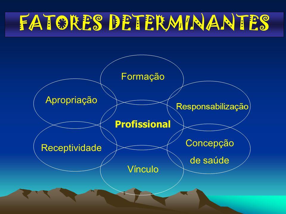 FATORES DETERMINANTES Profissional Formação Apropriação Vínculo Receptividade Concepção de saúde Responsabilização