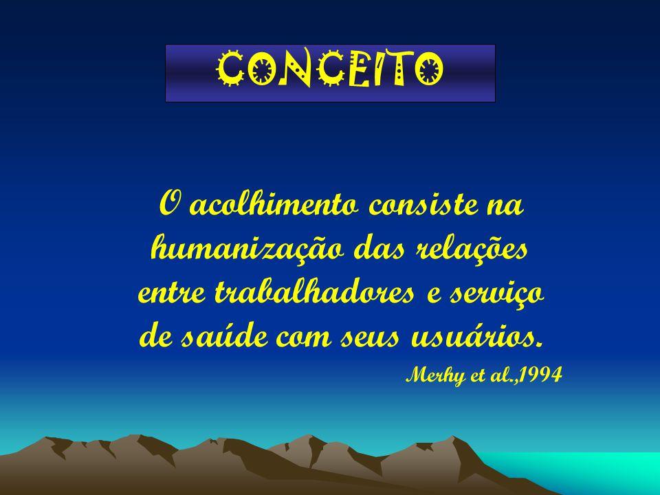 CONCEITO O acolhimento consiste na humanização das relações entre trabalhadores e serviço de saúde com seus usuários. Merhy et al.,1994