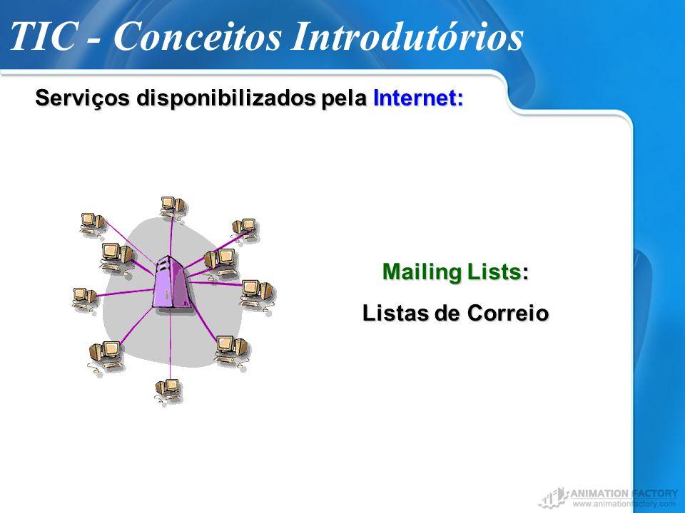 TIC - Conceitos Introdutórios Serviços disponibilizados pela Internet: Mailing Lists: Listas de Correio