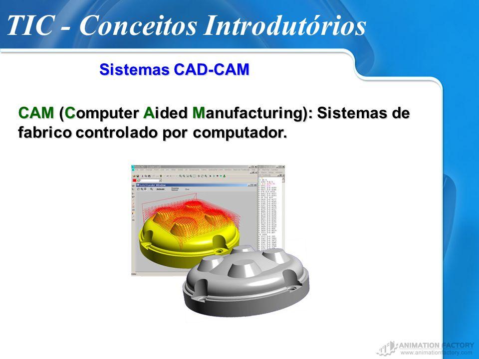 TIC - Conceitos Introdutórios Sistemas CAD-CAM CAM (Computer Aided Manufacturing): Sistemas de fabrico controlado por computador.