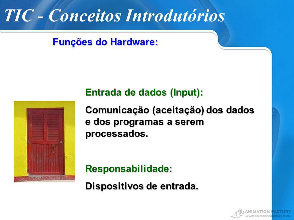 Funções do Hardware: Entrada de dados (Input): Comunicação (aceitação) dos dados e dos programas a serem processados. Responsabilidade: Dispositivos d