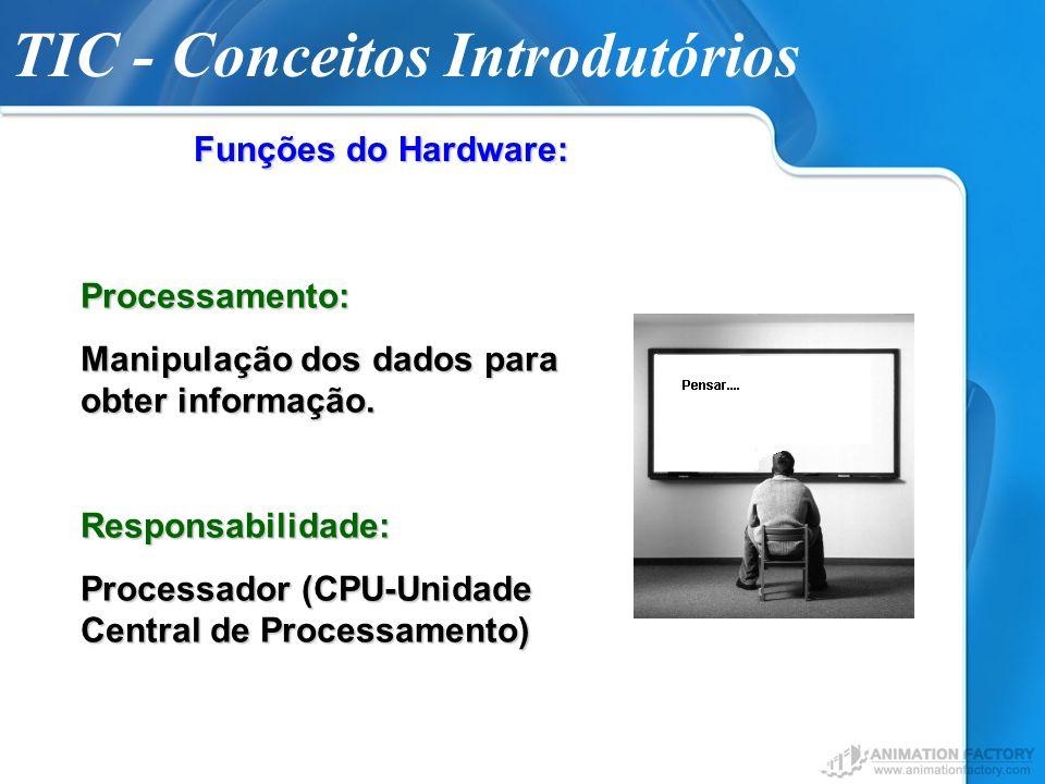 TIC - Conceitos Introdutórios Funções do Hardware: Processamento: Manipulação dos dados para obter informação. Responsabilidade: Processador (CPU-Unid