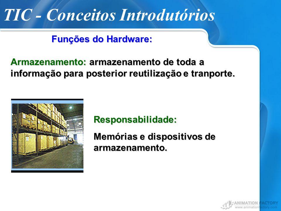 TIC - Conceitos Introdutórios Funções do Hardware: Armazenamento: armazenamento de toda a informação para posterior reutilização e tranporte. Responsa