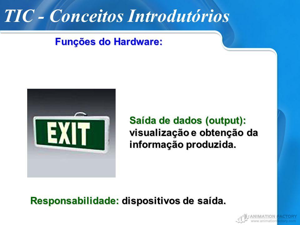 TIC - Conceitos Introdutórios Funções do Hardware: Saída de dados (output): visualização e obtenção da informação produzida. Responsabilidade: disposi