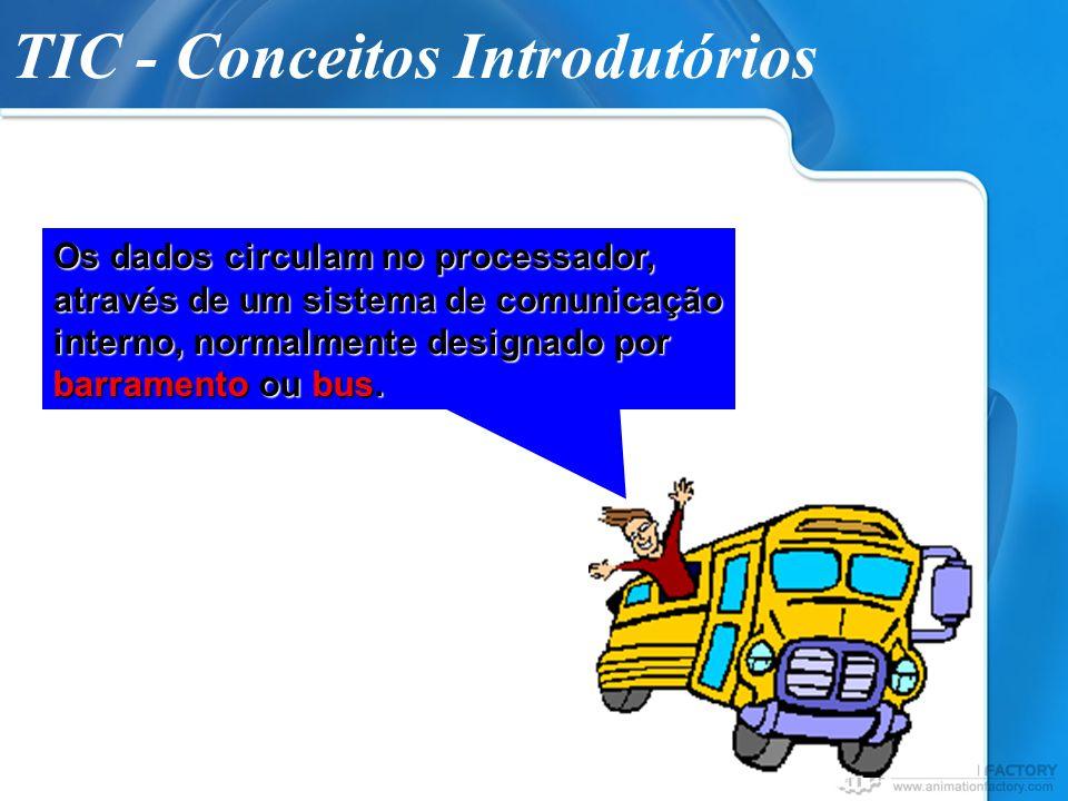 TIC - Conceitos Introdutórios Os dados circulam no processador, através de um sistema de comunicação interno, normalmente designado por barramento ou
