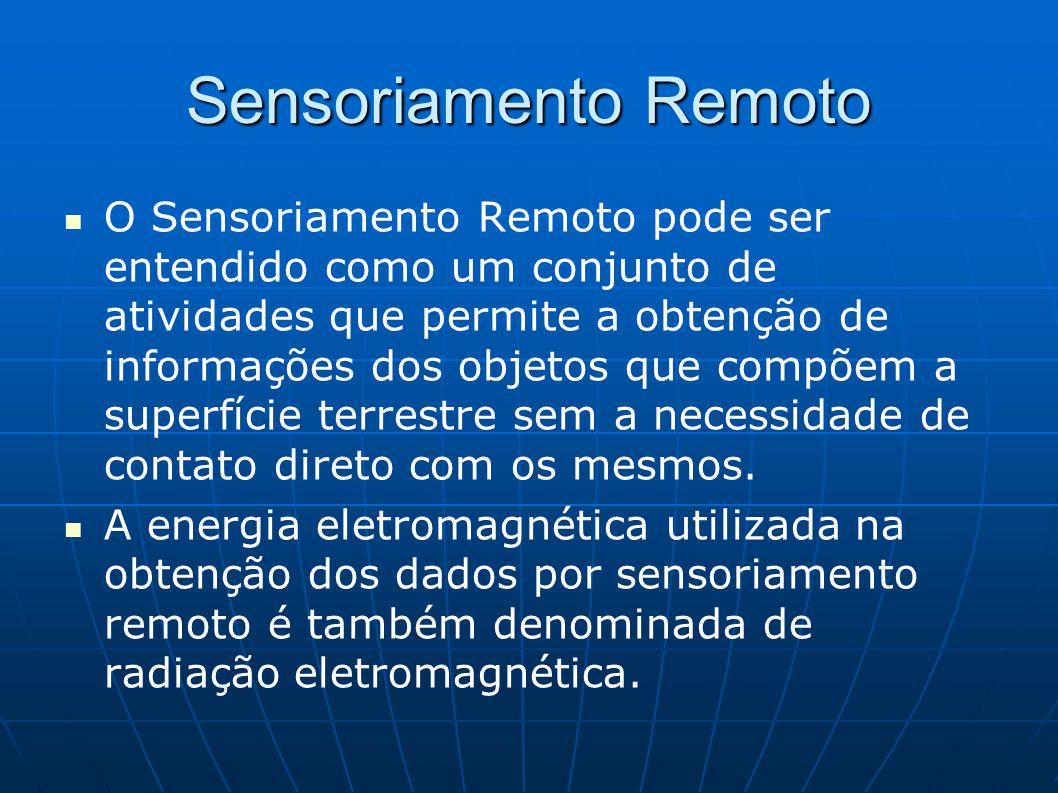 Sensoriamento Remoto O Sensoriamento Remoto pode ser entendido como um conjunto de atividades que permite a obtenção de informações dos objetos que co