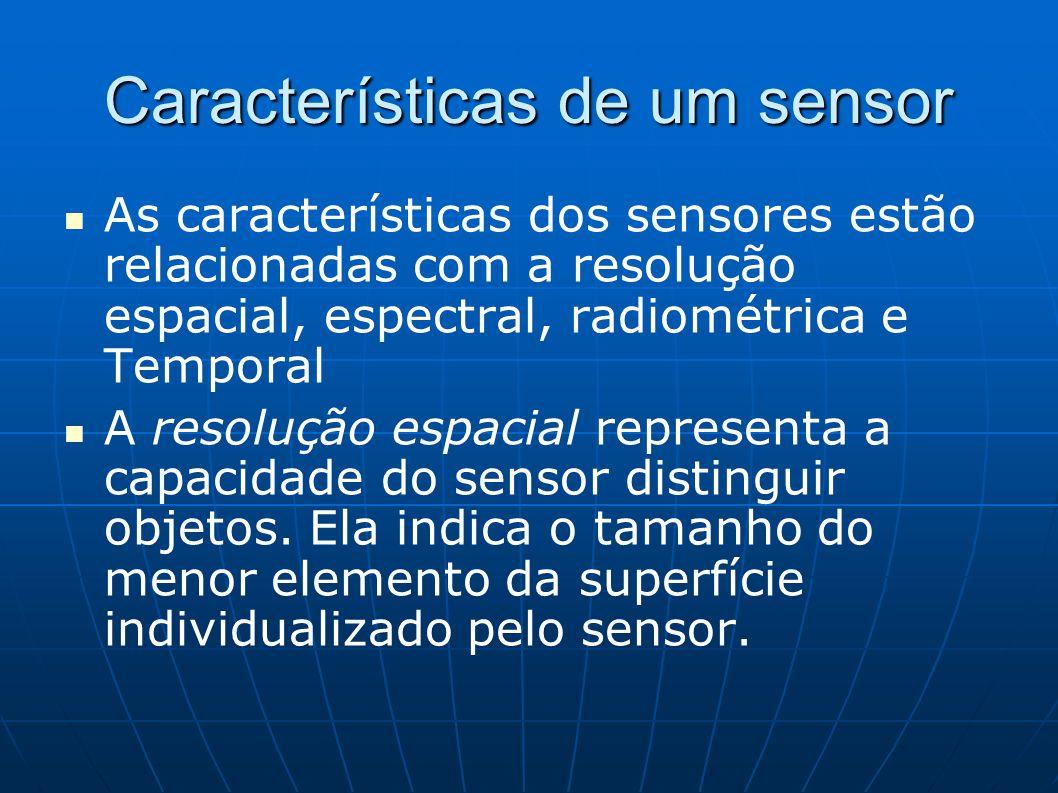 Características de um sensor As características dos sensores estão relacionadas com a resolução espacial, espectral, radiométrica e Temporal A resoluç