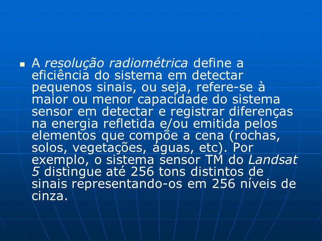 A resolução radiométrica define a eficiência do sistema em detectar pequenos sinais, ou seja, refere-se à maior ou menor capacidade do sistema sensor