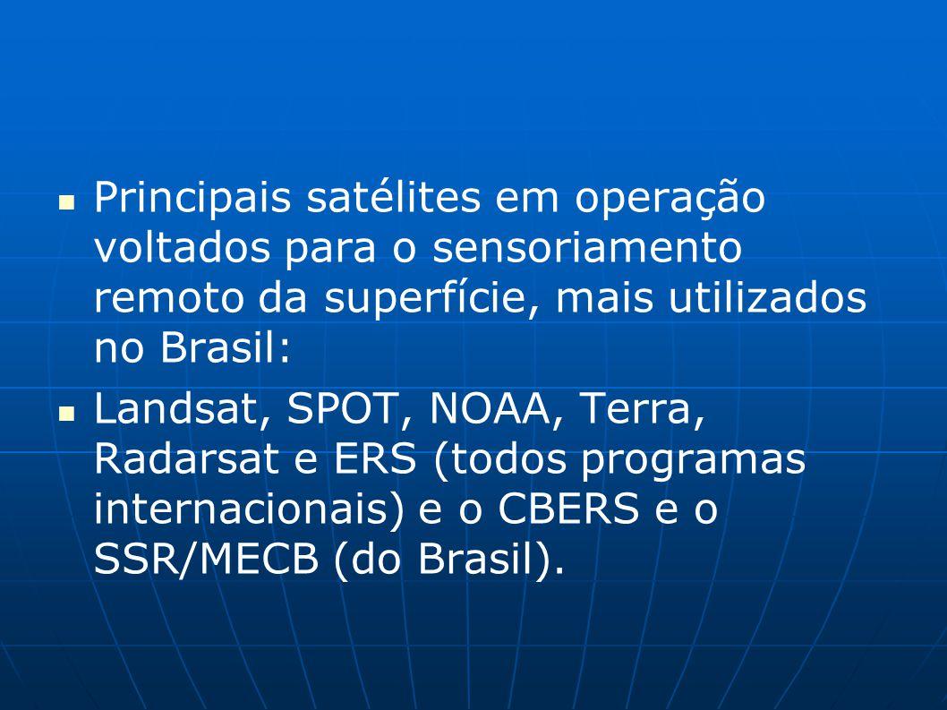 Principais satélites em operação voltados para o sensoriamento remoto da superfície, mais utilizados no Brasil: Landsat, SPOT, NOAA, Terra, Radarsat e