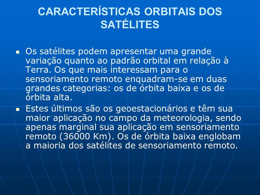 CARACTERÍSTICAS ORBITAIS DOS SATÉLITES Os satélites podem apresentar uma grande variação quanto ao padrão orbital em relação à Terra. Os que mais inte