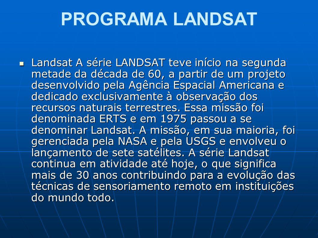PROGRAMA LANDSAT Landsat A série LANDSAT teve início na segunda metade da década de 60, a partir de um projeto desenvolvido pela Agência Espacial Amer