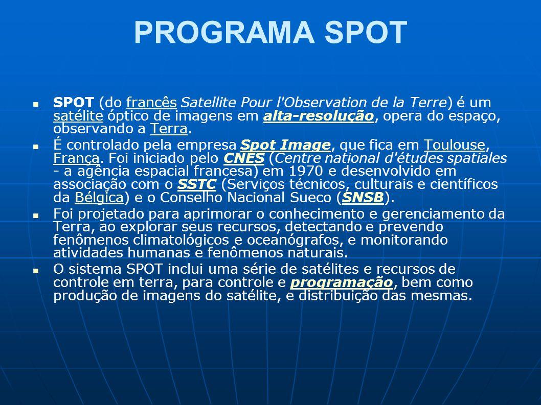 PROGRAMA SPOT SPOT (do francês Satellite Pour l'Observation de la Terre) é um satélite óptico de imagens em alta-resolução, opera do espaço, observand