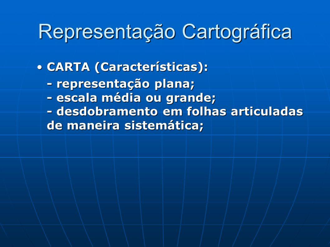 Representação Cartográfica CARTA (Características):CARTA (Características): - representação plana; - escala média ou grande; - desdobramento em folhas