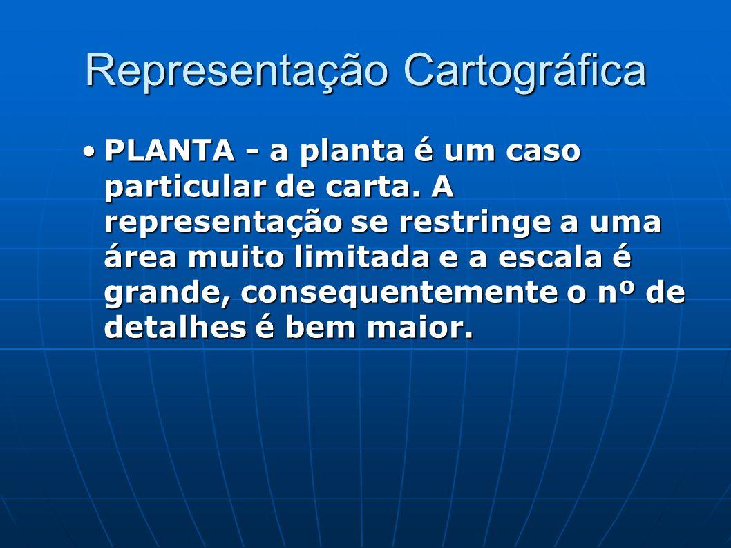 Representação Cartográfica PLANTA - a planta é um caso particular de carta. A representação se restringe a uma área muito limitada e a escala é grande