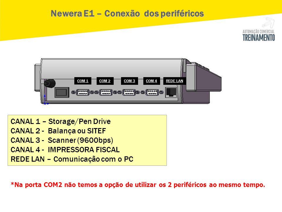 CANAL 1 – Storage/Pen Drive CANAL 2 - Balança ou SITEF CANAL 3 - Scanner (9600bps) CANAL 4 - IMPRESSORA FISCAL REDE LAN – Comunicação com o PC Newera