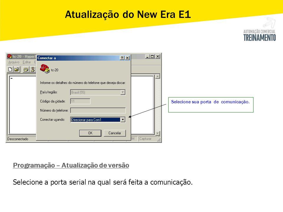 Selecione sua porta de comunicação. Programação – Atualização de versão Selecione a porta serial na qual será feita a comunicação. Atualização do New