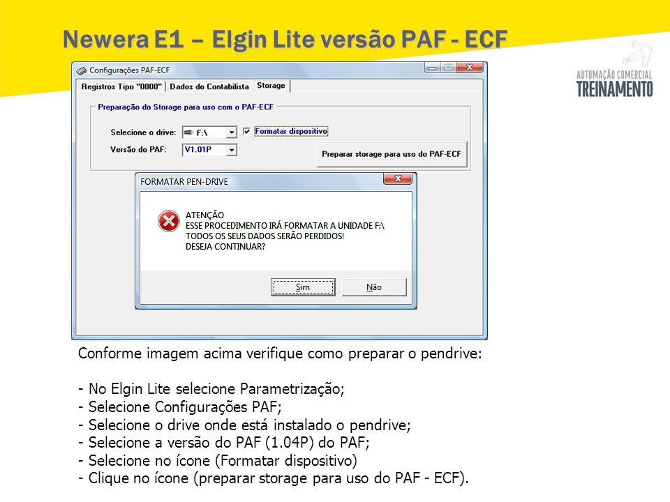 Newera E1 – Elgin Lite versão PAF - ECF Conforme imagem acima verifique como preparar o pendrive: - No Elgin Lite selecione Parametrização; - Selecion