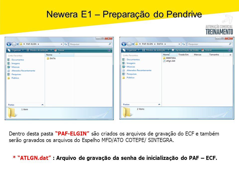 """Newera E1 – Preparação do Pendrive Dentro desta pasta """"PAF-ELGIN"""" são criados os arquivos de gravação do ECF e também serão gravados os arquivos do Es"""