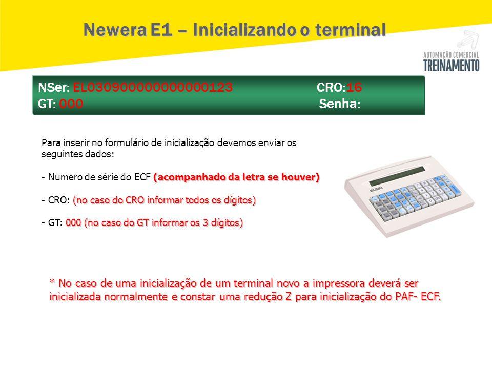 Newera E1 – Inicializando o terminal Para inserir no formulário de inicialização devemos enviar os seguintes dados: (acompanhado da letra se houver) -