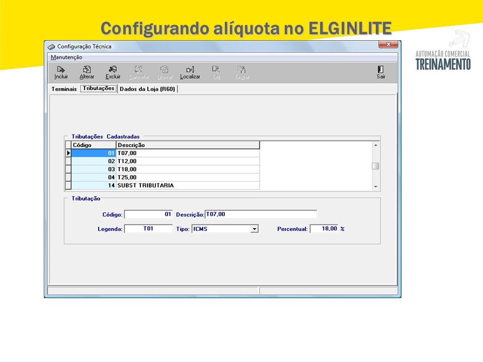 Configurando alíquota no ELGINLITE Configurando alíquota no ELGINLITE
