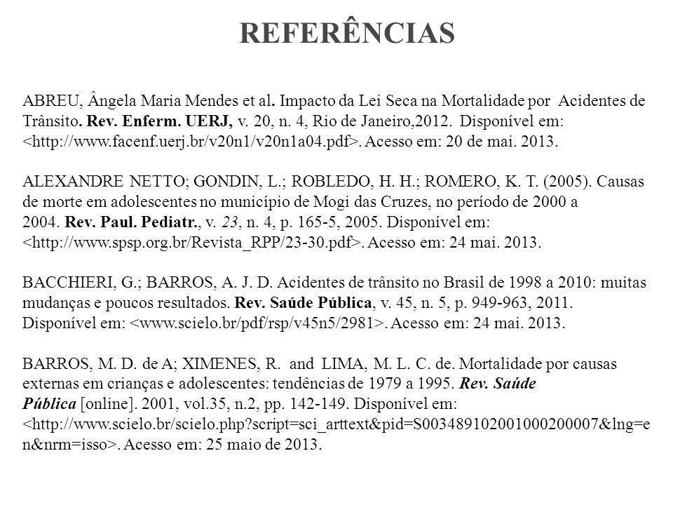 REFERÊNCIAS ABREU, Ângela Maria Mendes et al.