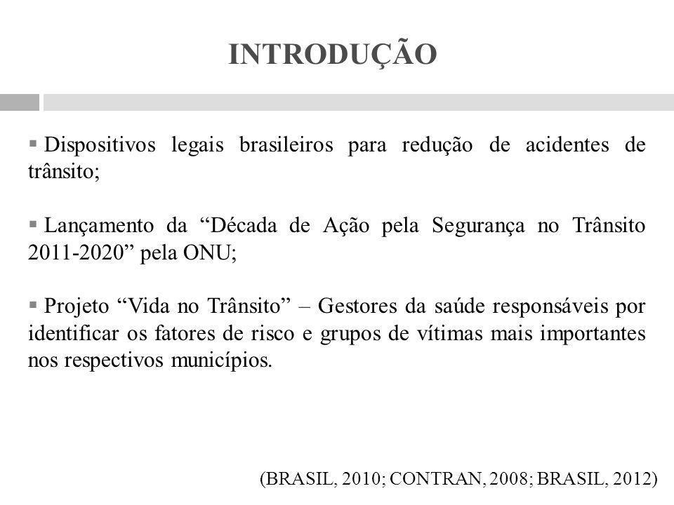 OBJETIVOS Geral:  Verificar a prevalência da mortalidade de crianças e adolescentes por acidentes de trânsito no município de Porto Velho, Rondônia, no período de 2007 a 2011..