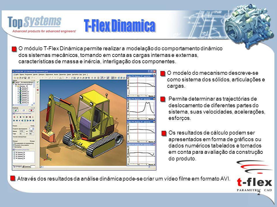 2 O módulo T-Flex Dinámica permite realizar a modelação do comportamento dinâmico dos sistemas mecânicos, tomando em conta as cargas internas e extern